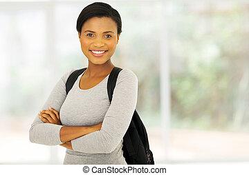 femmina, braccio attraversarono, studente, africano, università