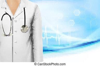 femmina, cappotto, illustrazione medica, vettore, laboratorio, fondo, dottore, bianco, stethoscope.