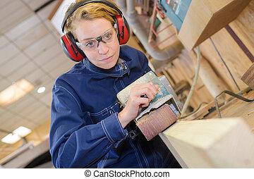femmina, carpentiere, lavoro