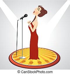femmina, cartone animato, microfono, cantante