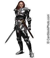 femmina, cavaliere, in, lucente, armatura
