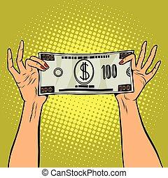 femmina, conto, dollaro, tenere mani, cento
