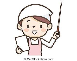 femmina, cuoco, indicare, bastone, sorridente