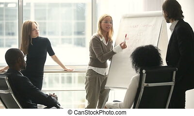 femmina, direttore, presentare, nuovo, progetto, piano, a, collaboratore, a, riunione