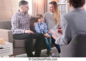 femmina, famiglia, riuscito, psicoterapista, problemi, giovane, porzione, risolvere, fondo, bambino, vista, relationship., retro, felice