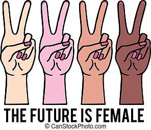 femmina, femminista, pace, mani, ragazza, vettore, illustrazione, segno, potere