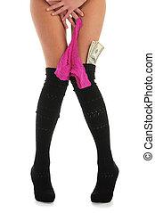 femmina, gambe, con, mutandine, e, soldi