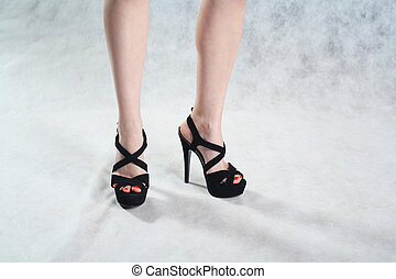 femmina, gambe, liscio, grigio, fondo