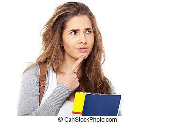 femmina, giovane, isolato, pensieroso, white., studente