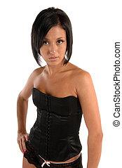 femmina, in, corsetto