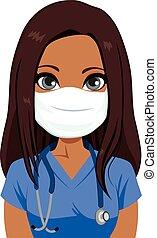 femmina, infermiera, maschera