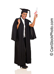 femmina, laureato, con, diploma
