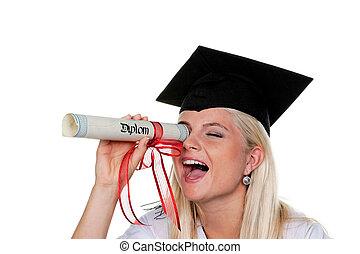 femmina, laureato, gioco, con, diploma