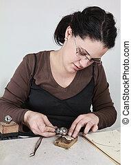 femmina, lavorativo, gioielliere