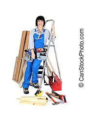 femmina, lavoratore costruzione, con, lei, attrezzi