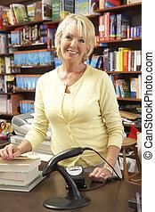 femmina, libreria, proprietario