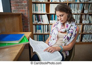 femmina, libro lettura, studente, biblioteca