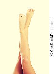 femmina, liscio, bello, legs.