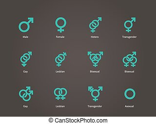 femmina, maschio, sessuale, orientamento, icons.