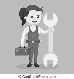 femmina, meccanico, con, grande, strappare, e, cassetta attrezzi