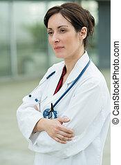femmina, ospedale, stato piedi, dottore, esterno