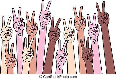femmina, pace, mani, vettore, segno, illustrazione