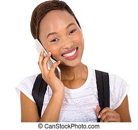 femmina, parlare, telefono mobile, studente università, africano