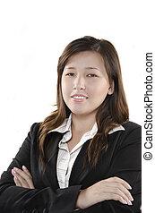 femmina, persona, giovane, affari