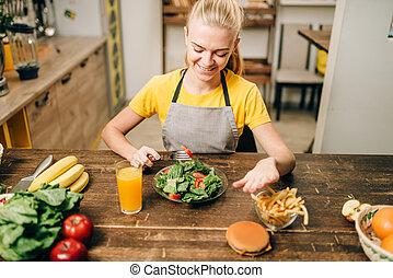 femmina, persona, scegliere, sano, bio, cibo