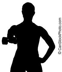 femmina, pesi, exercies, libero