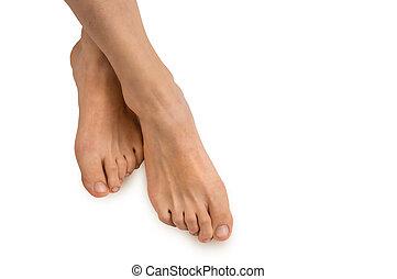 femmina, piedi, isolato, bianco, fondo