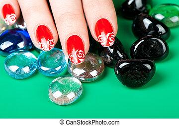femmina porge, con, francesi fa manicure