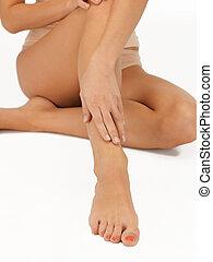 femmina porge, e, gambe