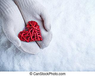 femmina porge, in, bianco, lavorato maglia, manopole, con,...
