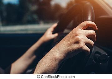femmina porge, su, automobile, volante