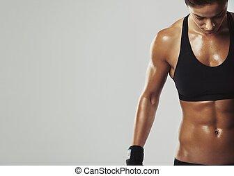 femmina, riposare, con, intenso, allenamento