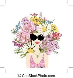 femmina, ritratto, con, floreale, acconciatura, per, tuo, disegno