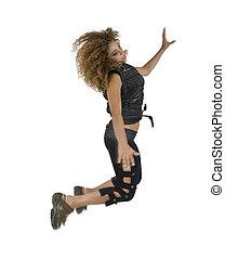 femmina, saltare, alto