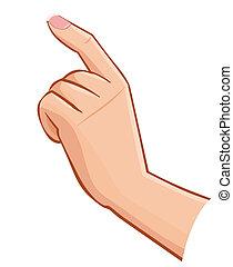 femmina, schermo, isolato, mano, toccante, vettore, fondo, bianco