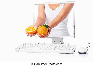 femmina, schermo, mano, computer, presa a terra, venuta, arancia, fuori