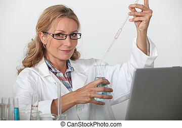 femmina, scienziato, lab., lavorativo