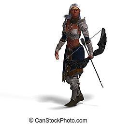 femmina, scuro, elfo, arciere