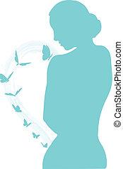 femmina, silhouette, con, farfalle