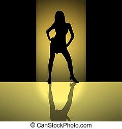 femmina, silhouette, fondo, oro