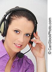 femmina, sostegno cliente, operatore