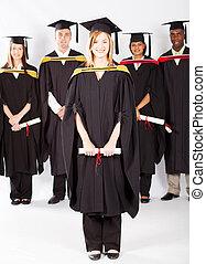 femmina, studente università, a, graduazione