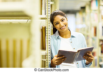 femmina, studente università, biblioteca