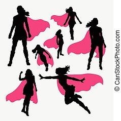 femmina, superhero, silhouette