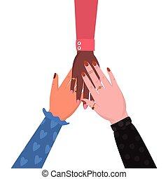 femmina, unito, vettore, mani, disegno, isolato