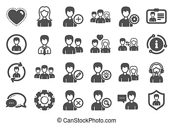 femmina, vettore, icons., maschio, utenti, profiles.